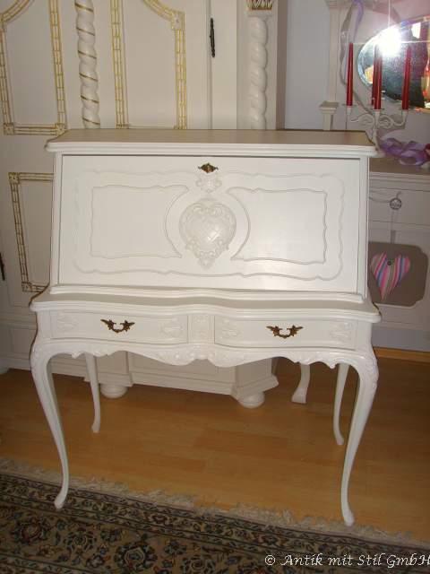 damensekret r antik sekret r schreibtisch chippendale stil vintage shabby weiss ebay. Black Bedroom Furniture Sets. Home Design Ideas