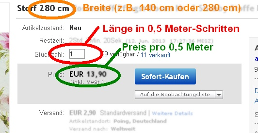 Screenshot: Stoff-Kauf bei Ebay (Detail)