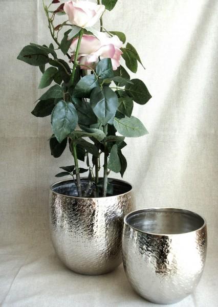 Übertopf Blumentopf Dekotopf Alu Hammerschlag silber