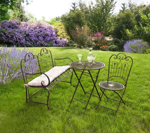 Gartentisch Klapptisch Metall Provence braun