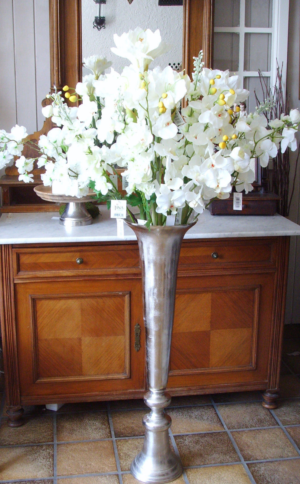 vase bodenvase pokal amphore pokalvase silber chrom metall edel xxl 85 cm gro antik mit stil. Black Bedroom Furniture Sets. Home Design Ideas