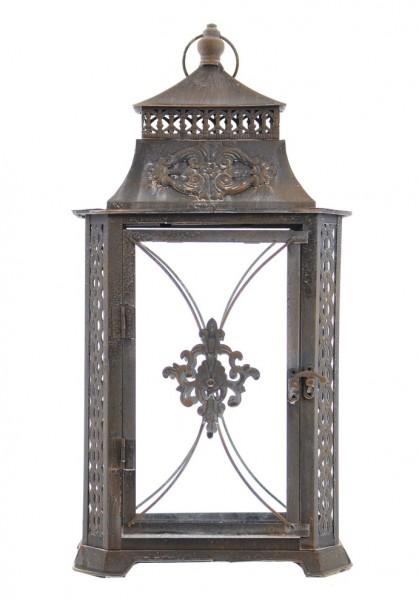 Laterne im nostalgischen Vintage-Look, 46 cm, Metall und Glas