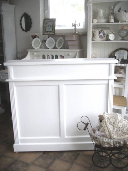 Theke Ladentheke Empfangstheke Verkaufstheke Landhaus einfarbig weiß