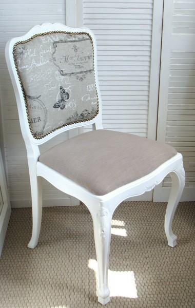Stuhl Stühle Chippendale Shabby Vintage Stil, weiß, neu gepolstert, Leinenstoff mit Vintage-Druck