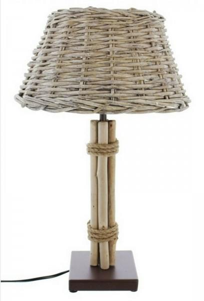 Tischlampe Tischleuchte Lampe Treibholz Weidenschirm 47 cm