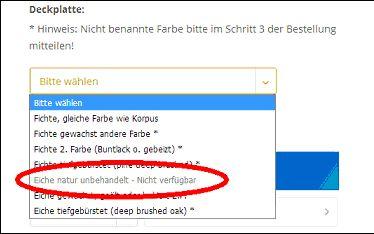 Kombination nicht verfügbar (Screenshot)