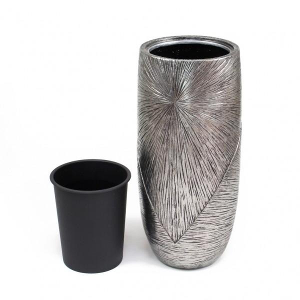 Bodenvase Silberoptik 72 cm Übertopf mit Pflanzeinsatz, Pflanztopf Blumentopf Pflanzsäule