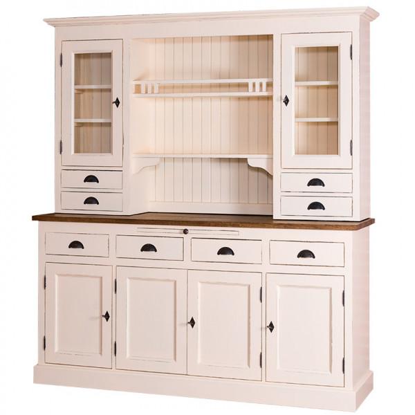 Küchenschrank Küchenbuffet, zweifarbig antikisiert P028++P025A, Arbeitsplatte Eiche tiefgebürstet P064