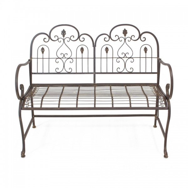 Gartenbank Sitzbank 2-Sitzer Provence Metall braun nostalgisch