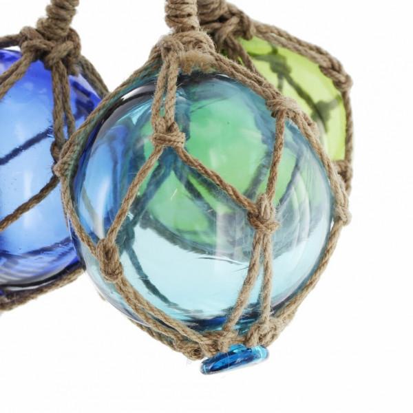 Glaskugeln maritim im Sisal-Netz