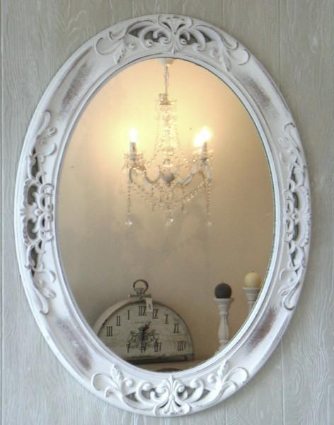Wandspiegel Spiegel oval Holzrahmen Shabby Vintage 61 cm x 49 cm