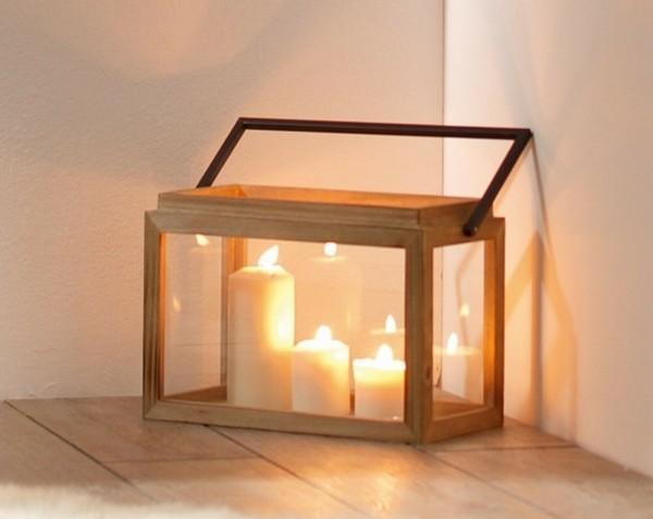 Laterne Laternenkasten Windlicht Scandi Stil Holz Metall Glas Deko Garten 32 cm