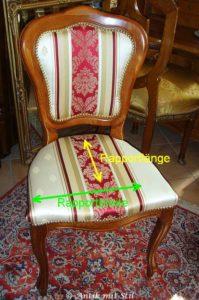 Polsterstoff: Rapportlänge und Rapportbreite im Beispiel (Stuhl)