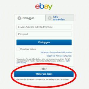 Als Gast bei Ebay einkaufen