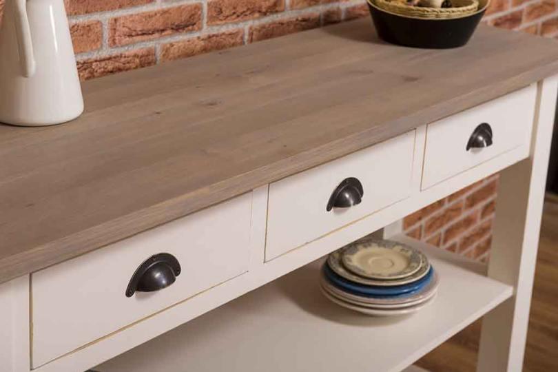 Wandtisch mit Eichenplatte hell