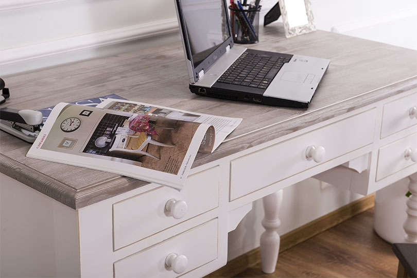 Schreibtisch Landhaus Romance weiß mit Tischplatte tiefgebürstet