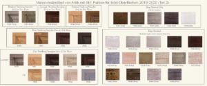 Farbtafel für Massivholzmöbel Edelausführungen für Fichte und Eiche