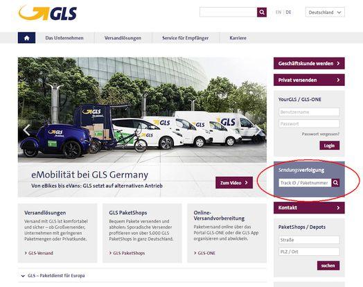 Homepage GLS Deutschland