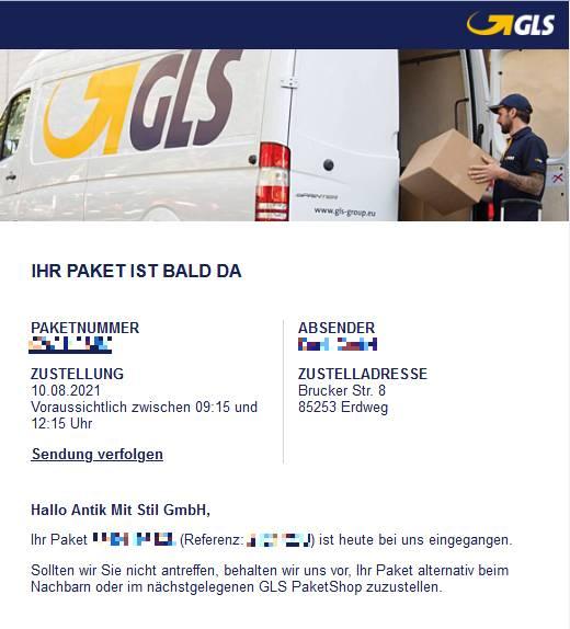 GLS-Email-Benachrichtigung